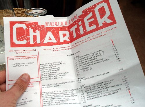Podróż soczysta berlińsko-paryska - Le Bouillon Chartier - menu