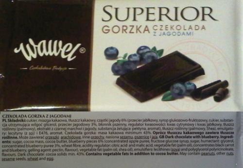 czekolada gorzka z jagodami - Wawel