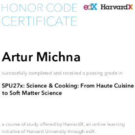 Science and cooking - Artur Michna Krytyk Kulinarny, certified by Harvard