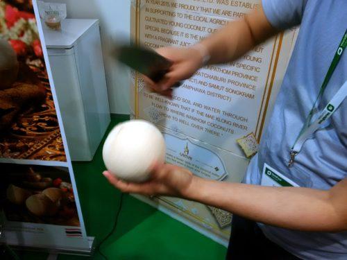 Świeży kokos, pokaz otwierania
