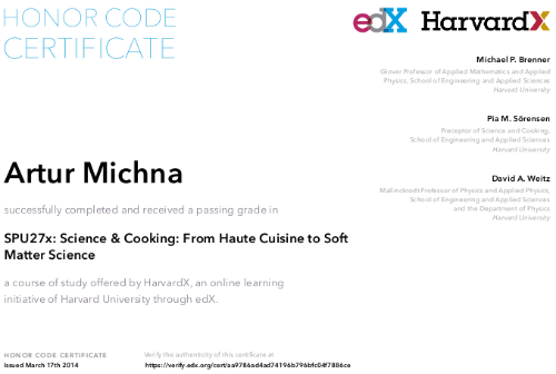 SPU27x: Science and Cooking - Artur Michna Krytyk Kulinarny