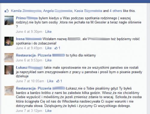 Komentarze na FB odnośnie rewolucji w pewnej restauracji