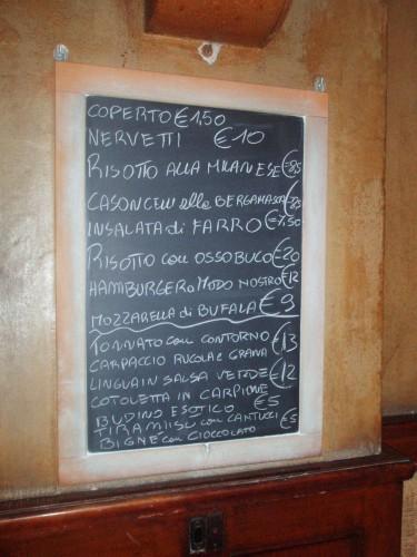 Tawerna Moriggi, menu